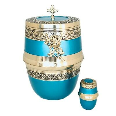 Well Lived® Aqua Blue Brass Adult Cremation Urn for human ashes 3