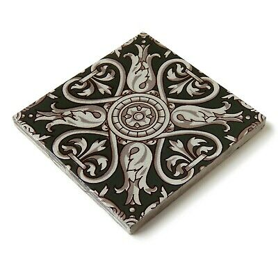 Antique Tile Victorian Aesthetic Gothic Arts Crafts Floral Lea Hearth Green Gray 11