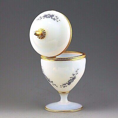Antique French white opaline crystal glass Trinket Box Casket hinged lid ormolu 4