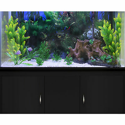 Fish Tank Aquarium Black Cabinet Complete Set Up Tropical Marine 300 Litre 4ft 4