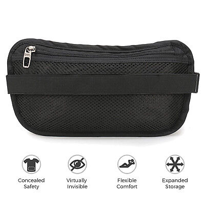 Money Belt travel bag secure waist zip Pouch RFID-Blocking Card/Passport Sleeves 6