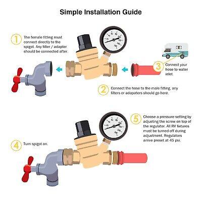 "Water Pressure Regulator For RV Lead-free Brass Adjustable Reducer Gauge 3/4"" 2"