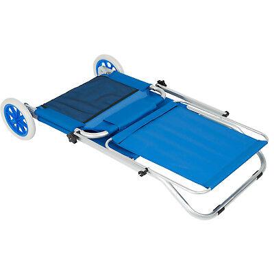 Chaise longue de plage jardin pliante transat bain de soleil toit aluminium bleu 5
