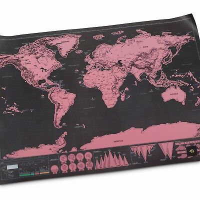 Xl Large Scratch Off World Map Pink Poster Personalized Travel Vacation Personal 4