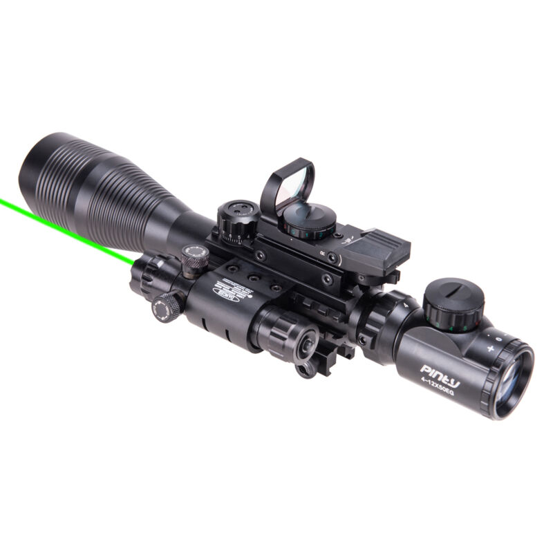 Pinty 4-12X50 Tactical Rangefinder Reticle Rifle Scope Green Laser & Dot Sight 3