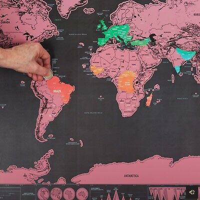 Xl Large Scratch Off World Map Pink Poster Personalized Travel Vacation Personal 6