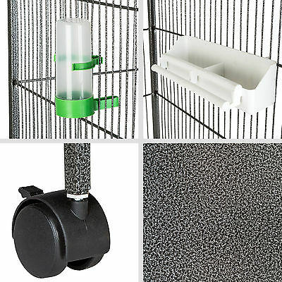Volière cage à oiseaux sur roulettes perruches perroquets spacieux 168x85x60 cm 5