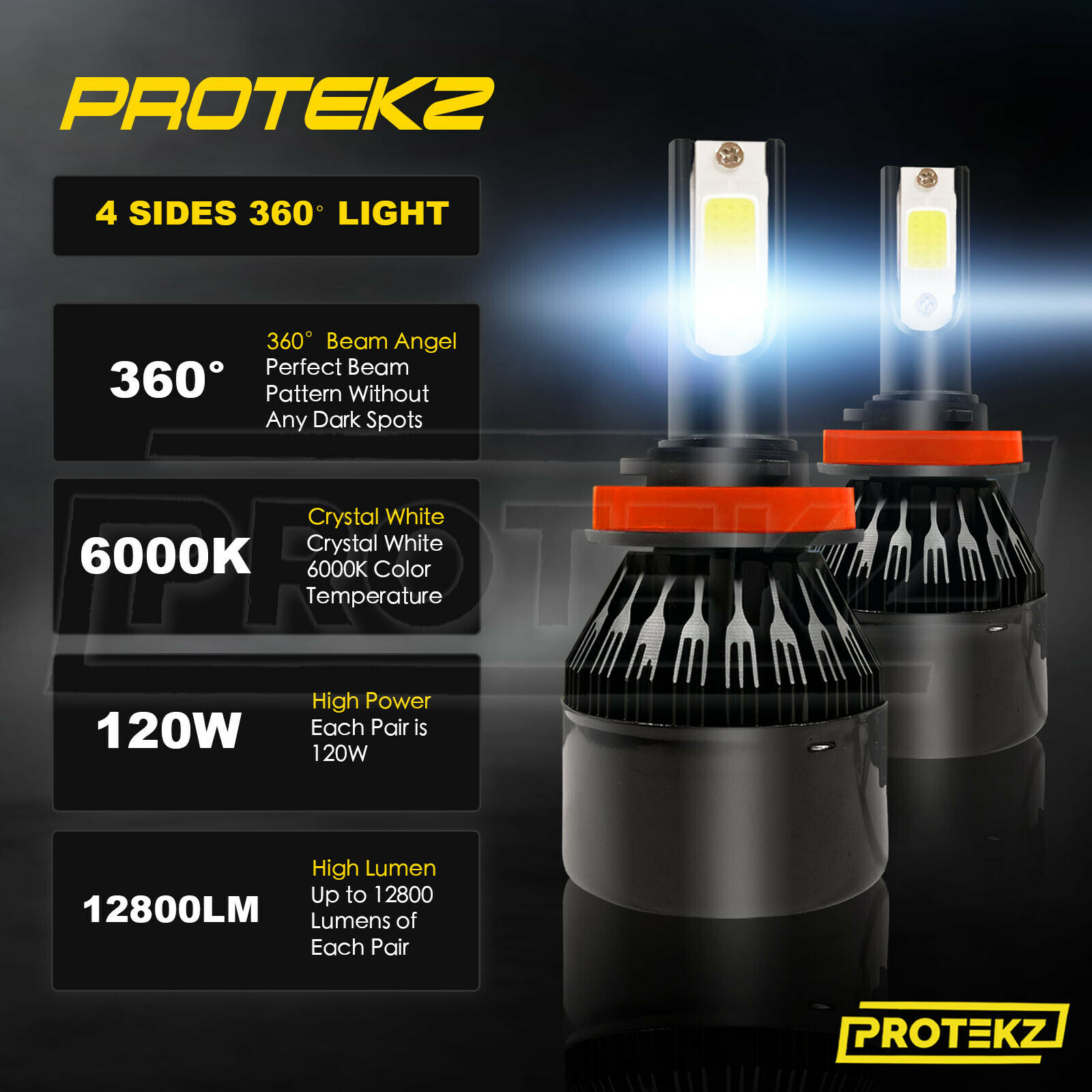 H11 H8 H9 LED Headlight Kit PROTEKZ 2 Bulbs 800W 120000LM 6500K Powerful White