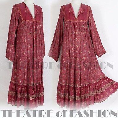 Vintage Indian Silk Dress Silk /& Cotton Dress Block Print Indian Dress S Boho Hippie Gypsy M Pockets Long Sleeves Belted