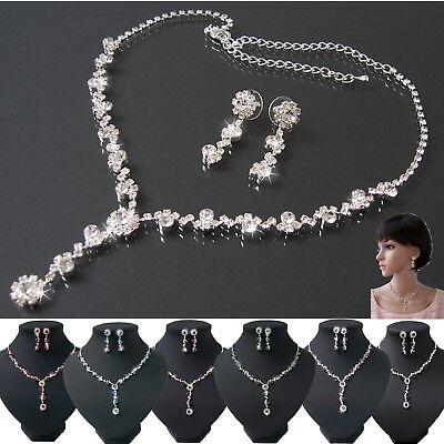 Schmuckset Collier Y-Kette Ohrringe Silber plattiert Hochzeit Braut Schmuck VS21