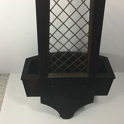 """Antique Wood Wall Planter with mesh details (28"""") 8"""