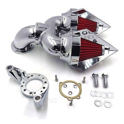 CHROME SPIKE DOUBLE Air Intake Cleaner Kit For Harley CV Carburetor Delphi