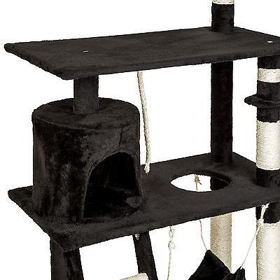Arbre à chat griffoir grattoir animaux geant avec hamac lit 141 cm hauteur noir 5