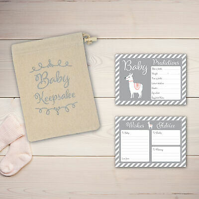 Baby Shower Game - 30 BABY PREDICTION /ADVICE /WISHES CARDS with KEEPSAKE POUCH 3