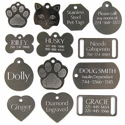 Stainless Dog Cat Pet Tags Charm Custom Id Diamond Engraved Both Sides 2