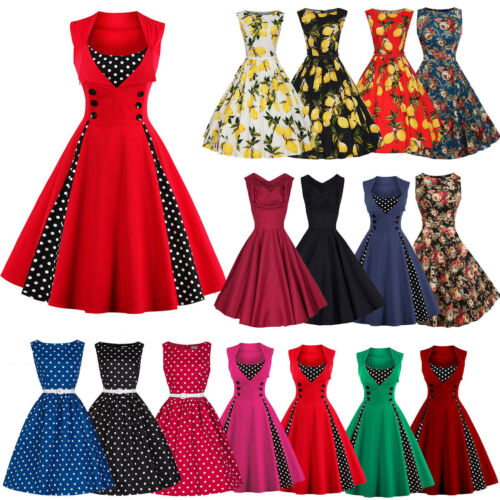 Damen rockabilly 50er swing kleid petticoat vintage hepburn party cocktailkleid eur 3 49 - Rockabilly outfit damen ...