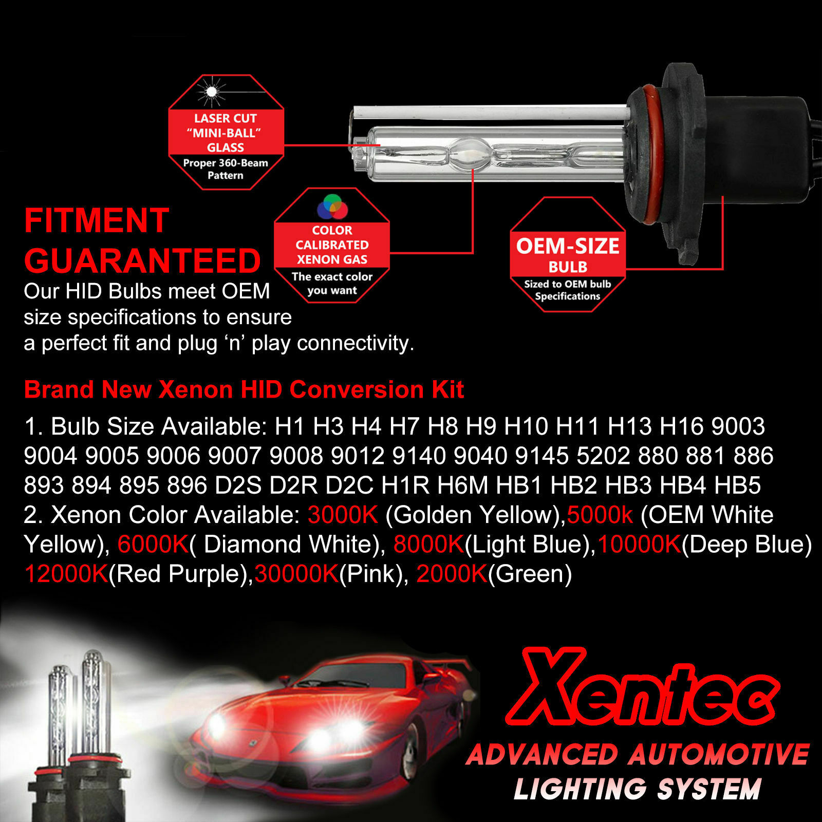 Xentec Xenon Headlight HID Kit for Honda Civic Accord H4 H11 9005 9006 880 H10 3