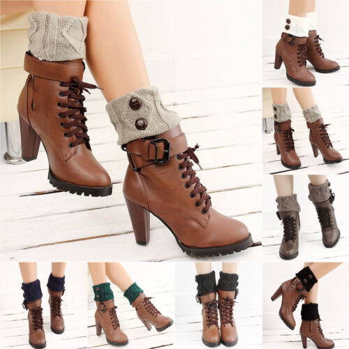 Damen Häkelarbeitknit Beinstulpen Strick Mini Stulpen Stiefel Socken Winter Neu