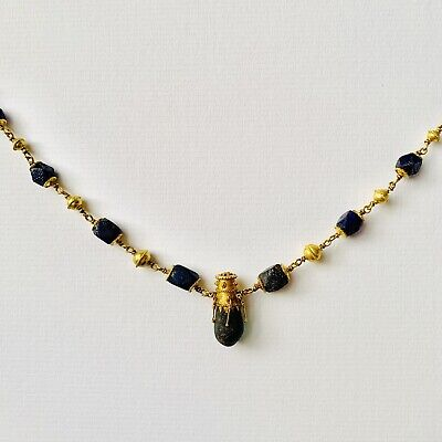 BEAUTIFUL Ancient Roman Gold Pendant Necklace With Green And Blue Glass Beads 6