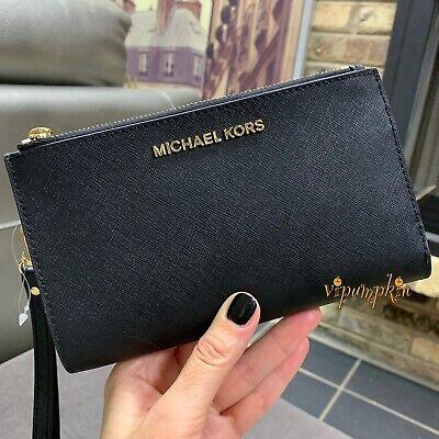 c9a2ec7cd04ee6 ... Michael Kors Jet Set Travel Double Zip Wristlet Leather Phone Case  Wallet Black 8