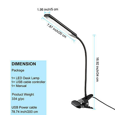 Dimmable Flexible USB Clip-On Desk 48 LED Table Reading Book Lamp 5W Light 7