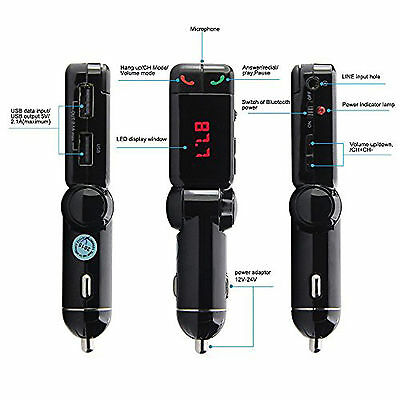 Bluetooth Car Kit FM Transmitter Car Charger MP3 Player USB for iPhone Samsung 6
