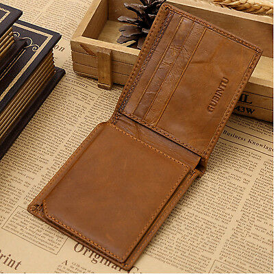 Genuine Leather Mens Purse Bifold Credit Card Wallet RFID Blocking Anti Scan OZ 6