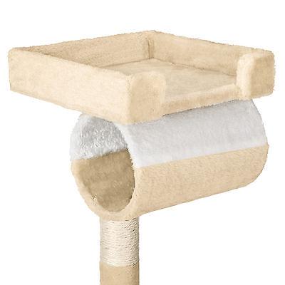 Arbre à chat griffoir grattoir geant avec hamac lit 141 cm hauteur beige blanc 3