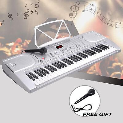 61 Key Music Electronic Keyboard Digital Piano Organ with Microphone Silver 2