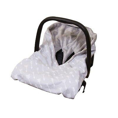 New Cotton & Soft Plush Baby Car Seat Wrap / Blanket - Grey/Grey + Arrows 2