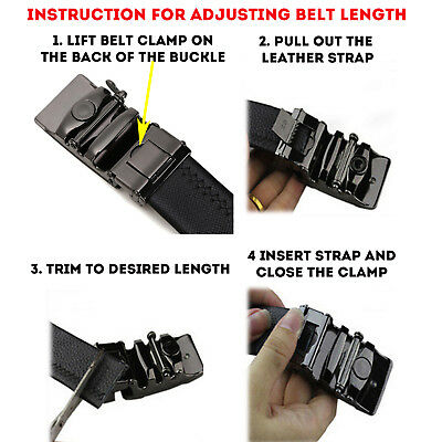 Men's Genuine Leather Adjustable Automatic Buckle Ratchet Golf Dress Belt 2