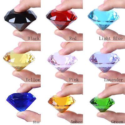 New 20-80mm Crystal Paperweight Cut Glass Giant Diamond Shape Jewel Decor Gift