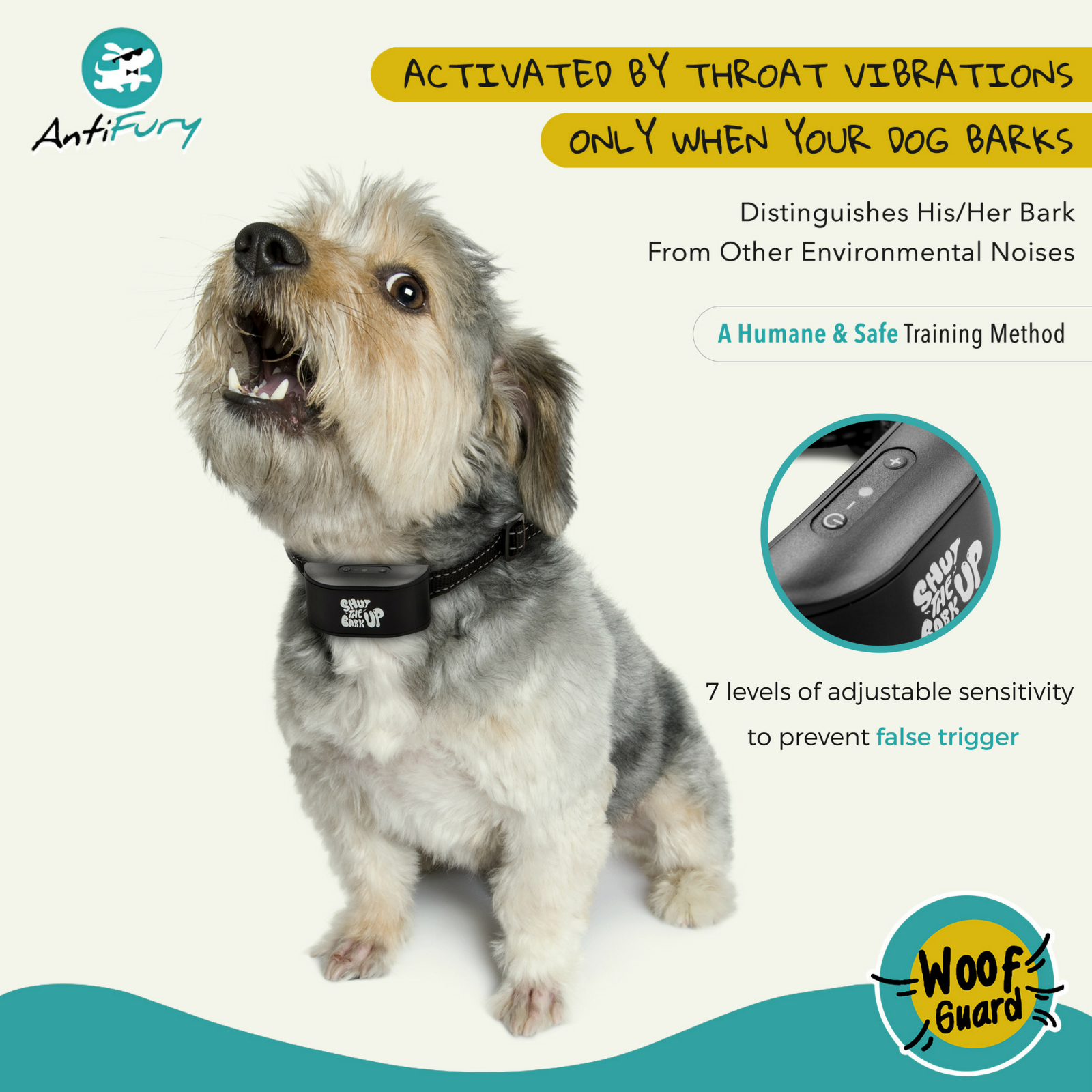 Bark Collar for Dogs Rechargeable Anti Bark Training Device Auto Stop Barking 3