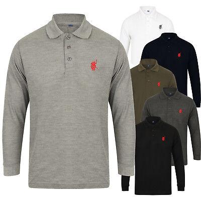 New Mens Polo Shirt Top Long Sleeve Pique Designer Plain T-Shirt Tee Horse Golf 11