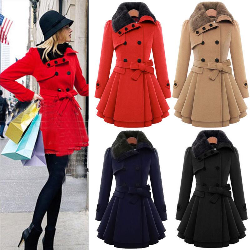 Womens Winter Office Pea Coat Trench Jacket Long Blazer Coats Outwear Plus Size 7