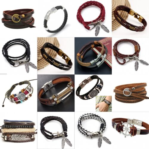 Fashion Retro Multilayer Leather Wristband Bracelet Cuff Bangle Men Women Unisex 2