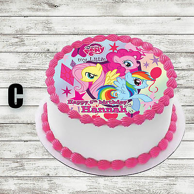 My Little Pony Round Edible Birthday Cake Topper Decoration Personalised 7