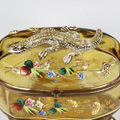 Antique Moser Bohemian amber art glass Casket hinged box enameled applied lizard 7