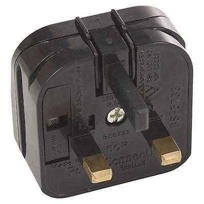 Negro Eu 3 Amp Adaptador de Enchufe Casa Viaje Europeo a Británico Conversor 3