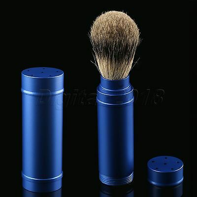 1PC Travel Shaving Brush Pure Badger Hair Removable Aluminum Handle Portable 4