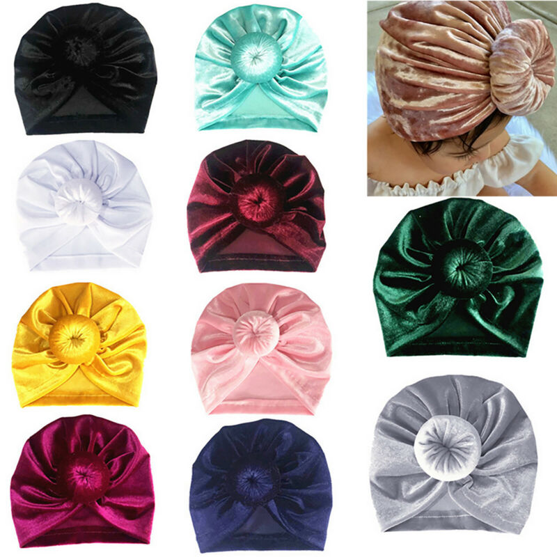 Newborn Toddler Baby Turban Knot Head Wrap Kids Boy Girls India Beanie Hat Cap 10