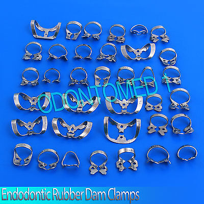 45 Endodontic Rubber Dam Clamps, Dental Instruments, Stainless Steel 3