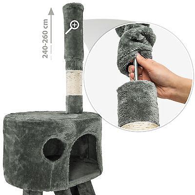 Arbre à chat XXL griffoir grattoir jouet animaux douillet geant peluché gris 5