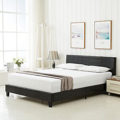 b04bdec11907 ... Queen Size Faux Leather Platform Bed Frame   Slats Upholstered  Headboard Bedroom 3