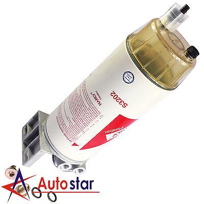 HANLV 30 Micron Diesel Fuel Filter Water Seperator Hand Primer Pump W// 3//8 NPT
