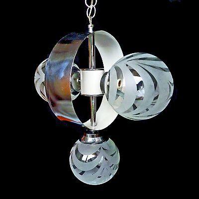 Vintage Mid-Century Italian Chrome Atomic Space Age Sputnik Orbit Chandelier 4