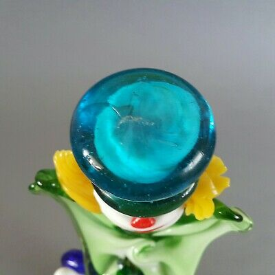 Vintage 1970's Murano Glass Clown Playing Guitar Green Bow Blue Hat 26cm High 8
