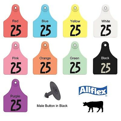 """ALLFLEX GLOBAL Large Ear Tags with Buttons 3/"""" X 2-1//4/"""" RED BLANK 25ct Pkg"""