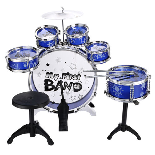 Blue / Red Junior Drum Kit For Kids - 3/5/6 Drum Set with Stool Childrens choose 2