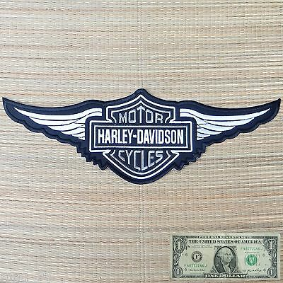 Harley Davidson Silver Logo with Wings Sew-on Patch (2XL) 2